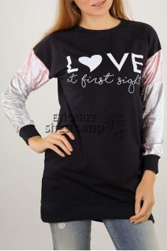 Love Baskili Kollari Pelus Detay Uzun Sweat 4126B